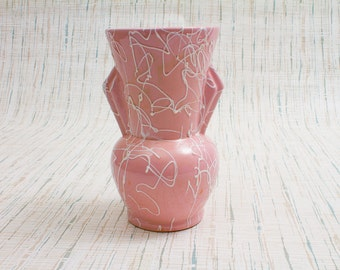 Beauceware Pink Drip Two Handled Vase