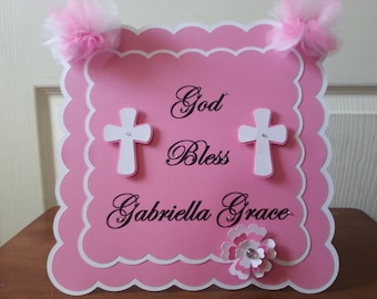 God Bless CenterPieces....Baptism...First Communion...Confirmation...Dedication ....Wedding...Color And Wording Can Be Customized