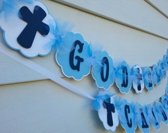 God Bless Banner With Matching Name Banner, Name Banner Up To 6 Letters , Baptism banner, Confirmation Banner, First Communion Banner