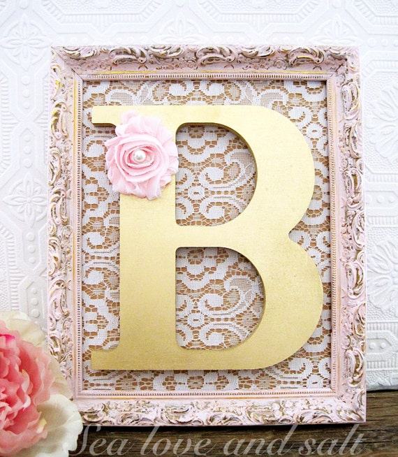 Pink and gold nursery decor baby girl nursery by for Gold wall decor letters