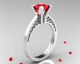 Modern Armenian 14K White Gold Lace 1.0 Ct Ruby Solitaire Engagement Ring R308-14KWGR