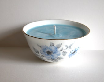 Pretty Vintage Blue Candle Bowl