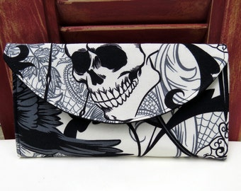 Black and White Goth, SKull Wallet