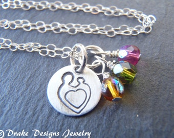Hand stamped mother child birthstone Necklace Sterling silver mommy jewelry