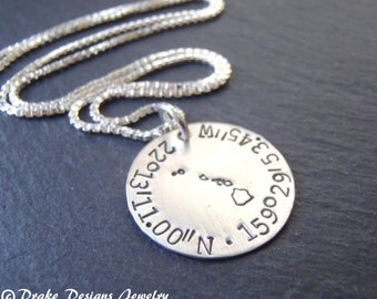Sterling silver custom Coordinates personalized state necklace latitude longitude coordinates