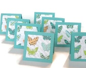 Mini Cards Lunch box Notes Teal Butterfly Ephemera