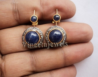 Gorgeous .925 Silver Vintage Inspired 0.70Ct. Rose Cut Diamond Blue Sapphire Earrings