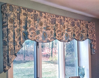 """Made To Order PEYTON Hidden Rod Pocket® Valance with pleated jabots fits 67""""- 90"""" window,Window treatment made using your fabrics, my lining"""