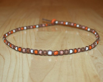 Orange Beaded Choker Orange Beaded Necklace Orange Beaded Jewelry Orange Bead Necklace Seed Beaded Choker Seed Bead Choker Necklace Brown