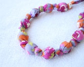 Fabric Statement Necklace,Teething Necklace, Chomping Necklace, Nursing Necklace - Pansies