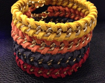 dreamweaver - leather & chain woven bracelet