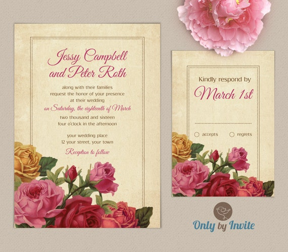 wedding invitation with rsvp card set personalized vintage wedding