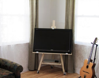 TV stand easel (Solid Hard Maple) Free shipping