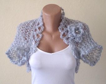 Grey bolero jacket - Wedding bolero - Knitted shrug - Bridal cover up - Evening shrug - Wrap over dress - Bridesmaid's accessory