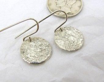 """Fine Silver Steel Pattern Disc Earrings 1/2"""",  Fine Silver Earrings, .999FS Patterned Silver, Rustic Silver Earrings"""