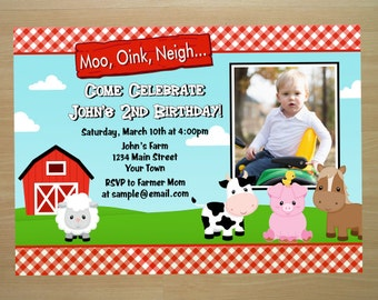 Barnyard Farm Birthday Invitation - Digital File (Printing Services Available)