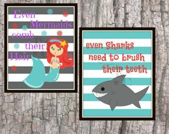 Mermaid Bathroom Shark Bathroom Unisex Bathroom Kids Bathroom Bathroom Wall Art Grey White Bathroom Bathroom Decor