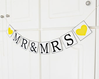 FREE SHIPPING, Mr & Mrs banner, Wedding Banner, Bridal shower banner, Engagement party decoration, Photo prop, Bachelorette party, Yellow