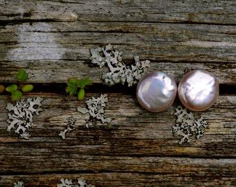 gorgeous lavender pink coin pearl stud earrings, bright pink pearl earring studs, large pink pearl stud earrings