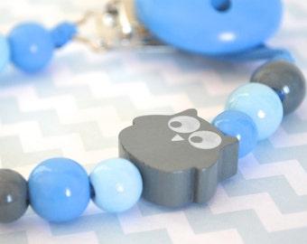 Baby pacifier clip, owl pacifier clip, pacifier holder, blue pacifier clip, baby boy pacifier clip, blue pacifier clip