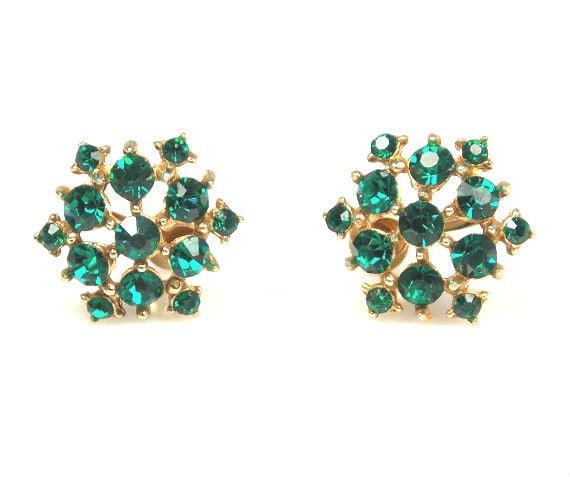 items similar to coro emerald green rhinestone earrings