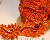 ORANGE FLORAL  RHINESTONE  trim, trimming, costume, sequin edging, stones, beads