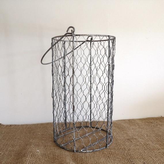 Vintage wire basket garden chicken wire basket bathroom for Bathroom accessories baskets