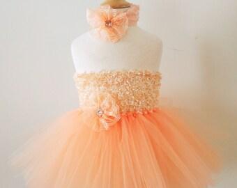 Chenille Top Peach Easter Tutu Dress - baby