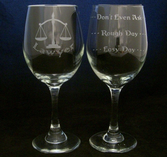 Lawyer Good Day Bad Day Wine Glass valentines day gift