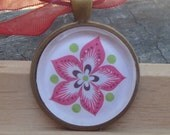 Vibrant Flower, Bright Pink and White Glass Pendant, Gift for her