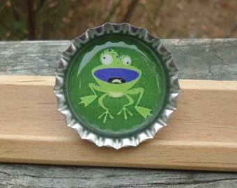 Quirky Frog Bottle Cap Pin