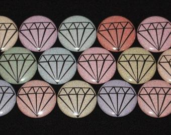 15 Diamonds Flatback or Pinback buttons 1 inch badge