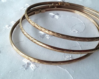 Three Vintage ZRW 10K Yellow Gold 3MM Bangles