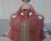 Vintage Porcelain Lady Powder Box Jar Dresser Doll