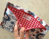 BACK TO SCHOOL :  pencil case in geometric florals with red zip and red gingham lining