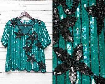 Vintage Floral Striped Sequin Disco Glitter Short Sleeve Embroidered Women's Blouse / Ladies Retro Summer Evening Shirt Top / Size M