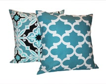 Pair of Aqua Blue Pillows - Any Size Available - Designer Decorated Throw Pillow Covers