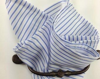 Cotton pocket square white blue stripe