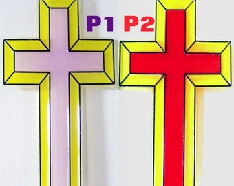 ORNAMENT, Cross, Yellow -Lilac, Yellow-Red, Acrylic Handpainted Home Decor