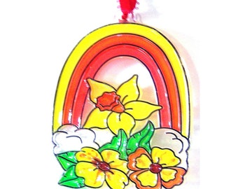 Ornament Flowers And Rainbow Green Orange Red Yellow  White Handpainted Home Decor