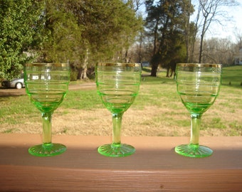 Block Optic Green Wine Glass circa 1929  Gold trim SCARCE