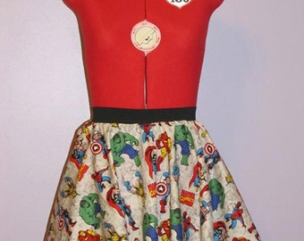 Mini Avengers Circle Skirt - Size Small (Now with POCKETS)