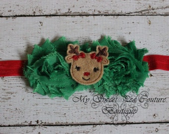 Clarice Reindeer Headband- Holiday Headband- Christmas Headband- Baby Girl Headband - Baby Headband - Newborn Headband - Infant Headband