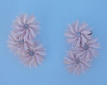 Vintage Pink Vinyl- Plastic Earrings with Rhinestones