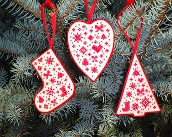 3 PDF primitive cross stitch patterns: Christmas Tree Decorations Scandi Christmas Set of 3