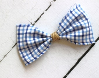 ADD ON  White/Blue Plaid Bow Tie