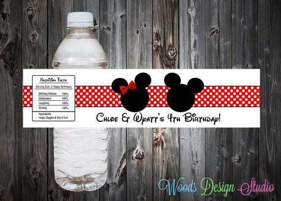 Custom Twins Mickey Minnie Mouse Inspired Birthday Party Water Bottle Labels - Water Resistant
