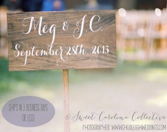 Rustic Wedding Signage, Bride and Groom Wedding Sign with Date WS-134