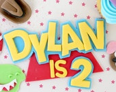 Toy Story name and birthday number Fondant Cake Topper Birthday Sign 1 qty