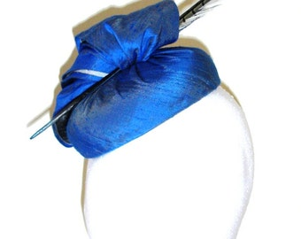 Blue & Silver silk pillbox hat